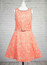 Next Coral Pink Dress Size 10 Fit & Flare Belted Formal Wedding Petite