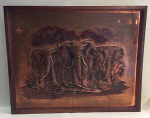 Vintage Rare Dennis Thomson Copper Picture Art - Elephants