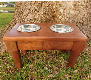 RUSTIC HANDMADE 1960's Solid Wood Double Bowl Elevated Raised Dog Pet Feeder