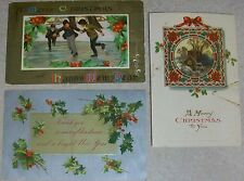 Vintage Embossed Christmas New Year Postcard Lot Kids Ice Skating Framed House