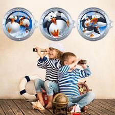 OCCASIONE! R00293 Wall Stickers Adesivi Murali bambini Oblò pinguini 120x40 cm