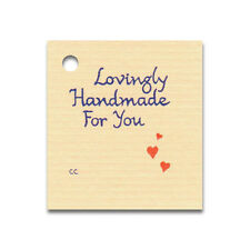 50 SMALL *LOVINGLY HANDMADE FOR YOU*  HANG TAGS & STRINGS PRICE GIFT FAVORS