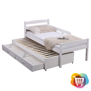 Imperfect Captain Wooden Bed 3FT   Single Trundle Storage Drawers & Safety Rail