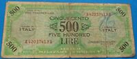 1943 Italy 500 Lire Allied Military Currency WWII Banknote