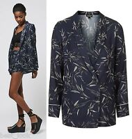 TOPSHOP Bamboo Print Double-Breasted Jacket