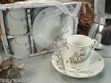 2 Cup 2 saucer Espresso Gift Set Bridal Shower Favors Cups Wedding Favors