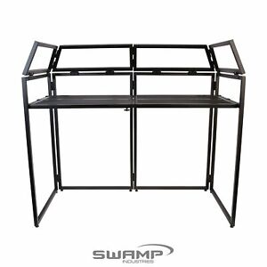 SWAMP DJB Portable Folding DJ Mixing Stand Disco Booth with Black & White Scrim