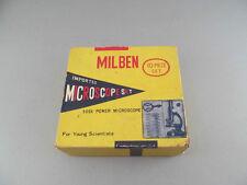 Vintage Milben Miniature 500X Power Microscope Set Japan