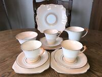 Antique Roslyn Part Tea Set 7439 Salmon Pink White & Gold China