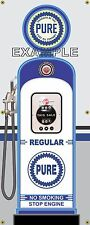 PURE REGULAR GAS PUMP VINTAGE OLD GAS STATION BANNER GARAGE SIGN ART 2' X 5'