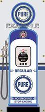 PURE REGULAR GAS PUMP VINTAGE OLD GAS STATION BANNER GARAGE SIGN ART 2' X 5'