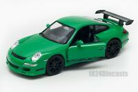 Porsche 911 (997) GT3 RS green, Welly scale 1:34-39, model toy car gift