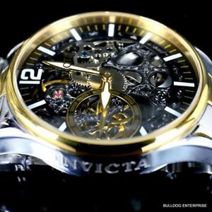 Invicta Vintage Mechanical Skeletonized 2 Tone Stainless Steel 44mm Watch New