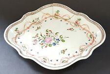 Pink flower & green leaf vintage pre Victorian antique shallow dish