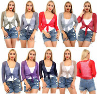 Women Ladies Pepper Mint Tie Knot PopCorn Lace Shrug Crochet Top Jumper Cardigan
