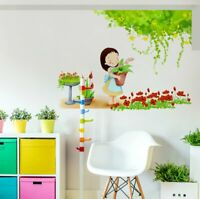 Girl With Pot Flower Wall Sticker Removable Art Home Decor Decal Mural Kids Room