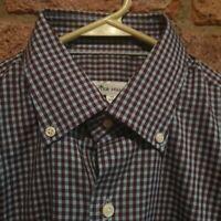PETER MILLAR Mens Shirt Longsleeve Button Collar Blue Burgandy Plaid Sun Medium
