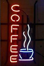 "Hot Coffee Cafe Open Neon Lamp Sign 17""x8"" Bar Pub Light Glass Artwork Windows"