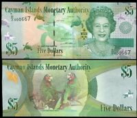 CAYMAN ISLANDS 5 DOLLARS ND 2010 / 2014 QEII P 39 D/2 NEW SIGN LOW SERIAL UNC
