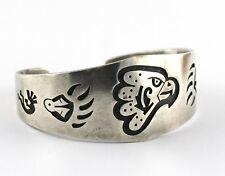 Vintage Native American Hopi Sterling Silver Overlay Eagle Bear Kokopelli Cuff