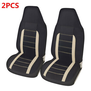 2PCS Front Seat Covers Protector Black Universal Fit For Car Sedan Truck SUV