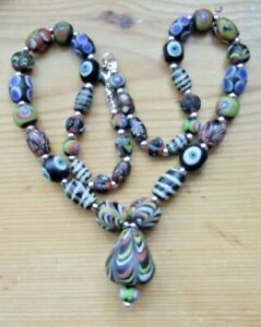 RARE 17th/18th CENTURY ANTIQUE GLASS BEADS RESTRUNG/NEW FITTINGS (EYE BEADS)