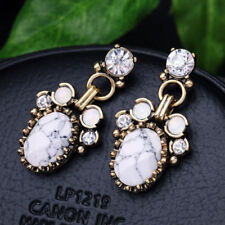 Gold Bronze Statement Crystal Embellished Metal and Rhinestone Drop Earrings