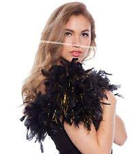 Boa Federboa schwarz Federschal Federstola mit Goldfransen 180 cm