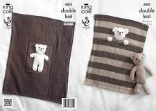 Blankets & Teddy Bear Toy in King Cole DK Yarn Knitting Pattern 4005