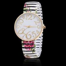 1x Flower Round Flexible stretch Band watch Quartz Wrist Bracelet Watch White MT