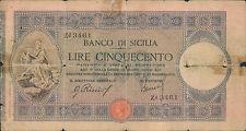 """500 lire 30/05/1915  """" Banco di Sicilia """""""