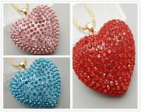 Red/Pink/Blue Crystal Rhinestone Heart Pendant Betsey Johnson Necklace