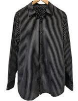 Banana Republic Mens Shirt Large 16 16 1/2 Black Stripe Slim Fit Button Up Long