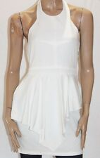 BLOSSOM Designer White High Neck Halter Peplum Dress Size 12-M BNWT #sV07
