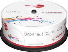 25 Primeon DVD-R photo on disc Bedruckbar Full Printable Spindel 4,7GB 16x