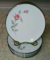 """8 Noritake 6044 Rosemarie 8.5"""" Salad Plates Pink Gray Rose Platinum 1959+  EXC"""