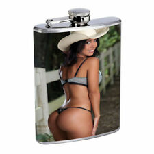 Hot Cowgirls D16 Flask 8oz Stainless Steel Hip Drinking Whiskey