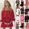 Women Off The Shoulder Summer Beach Mini Sundress Party Casual Short Dress Shirt