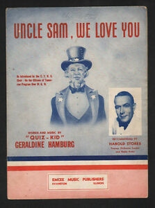"Uncle Sam We Love You 1941 by ""Quiz Kid"" Geraldine Hamburg Sheet Music"
