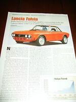 LANCIA FULVIA SPORTS CAR  ***ORIGINAL  ARTICLE***
