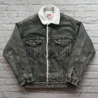 Vintage Levis Type 3 Sherpa Lined Denim Trucker Jean Jacket Made in USA Black M