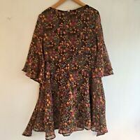 Misguided Vintage Dress Size 10 Floral Orange Brown Sequins Lined Length 34""
