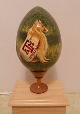 Texas A&M Hand Painted Large Wood Egg + Stand From Russia - Collegiate Licensed