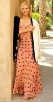 New $1298 2020 Tory Burch Jewel Embroidered Polka Dot Maxi Long Gown Dress XS 00