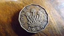 UK 1946 BRASS THREEPENCE VF SCARCE