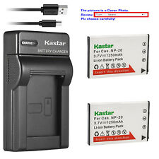 Kastar Battery Slim Charger for Casio Original NP-20 & Casio OEM BC-31L BC-11L