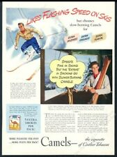 1940 Cannon Mountain tram Franconia Notch ski area photo Camel cigarettes ad