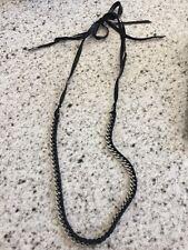 Club Monaco Black Ribbon And Silver Chain Long Necklace