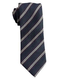 "Brioni NWOT Mens Blue/Purple/White Striped Wool/Silk Woven Tie Italy 3.25"" Width"