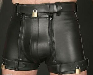 MENS REAL LEATHER RESTRAINTS CHASTITY SHORTS WITH FREE PADLOCKS